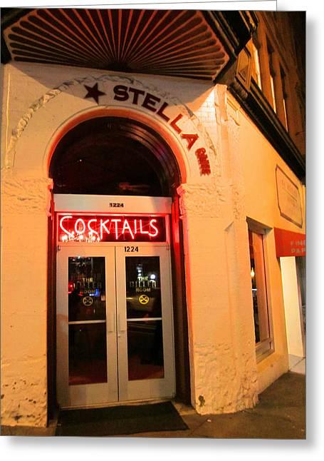 Stella Cocktail Bar At Night Greeting Card by Kym Backland