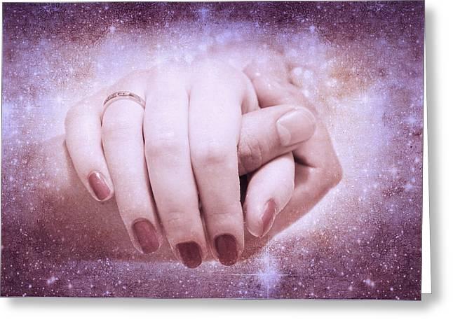Star In Hand Greeting Cards - Stellar Bonds Greeting Card by Jenny Rainbow