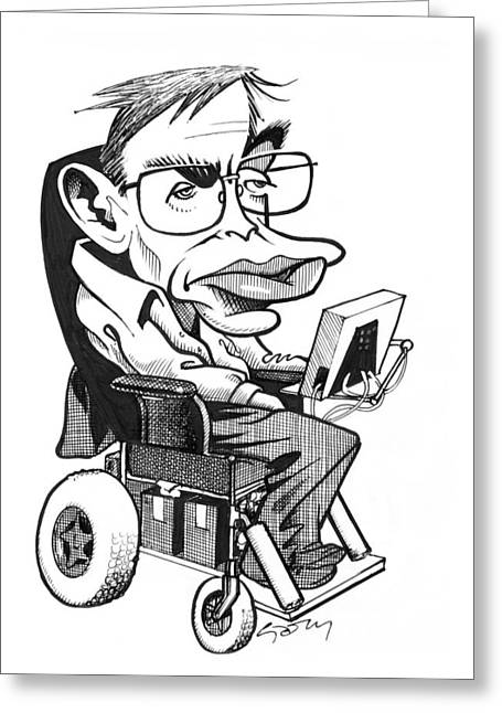 British Celebrities Photographs Greeting Cards - Stephen Hawking, British Physicist Greeting Card by Gary Brown