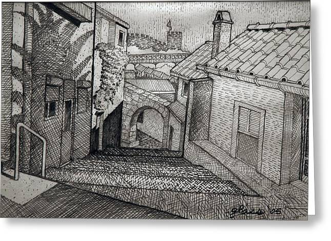 Stepping Stones Drawings Greeting Cards - Stepped Ramp Porto Portugal Greeting Card by Lester Glass