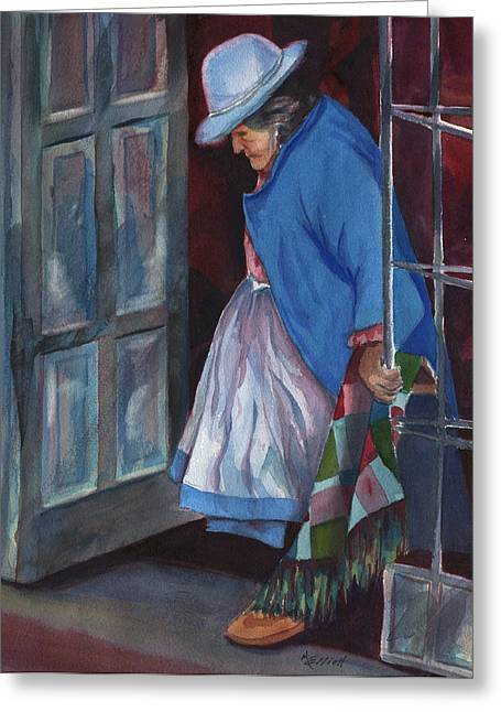 Peru Greeting Cards - Stepping Out Greeting Card by Marsha Elliott