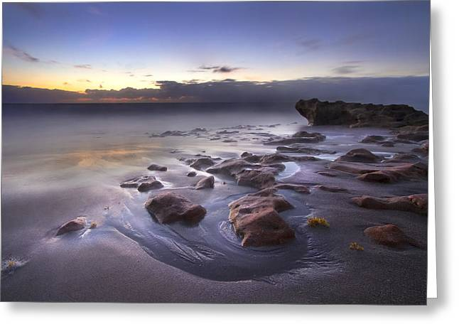 Foggy Beach Greeting Cards - Stepping Stones Greeting Card by Debra and Dave Vanderlaan
