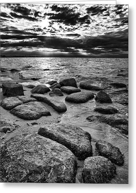 York Beach Greeting Cards - Stepping Stones on Great South Bay Greeting Card by Rick Berk