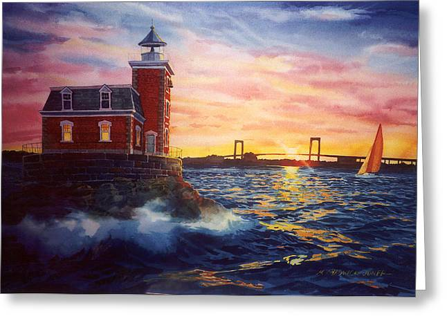 Lighthouse Sunset Greeting Cards - Steppingstones Light Greeting Card by Marguerite Chadwick-Juner