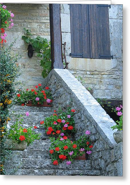 Recently Sold -  - Stepping Stones Greeting Cards - Steps and Flowers in Loubressac France Greeting Card by Greg Matchick