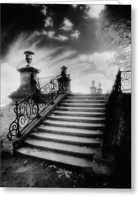 Ghostly Greeting Cards - Steps at Chateau Vieux Greeting Card by Simon Marsden