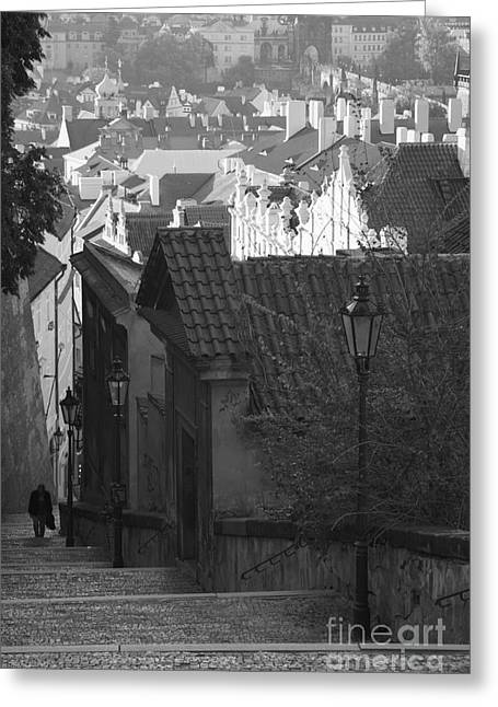Stepping Stones Greeting Cards - Steps down to the Little Quarter Greeting Card by Hideaki Sakurai