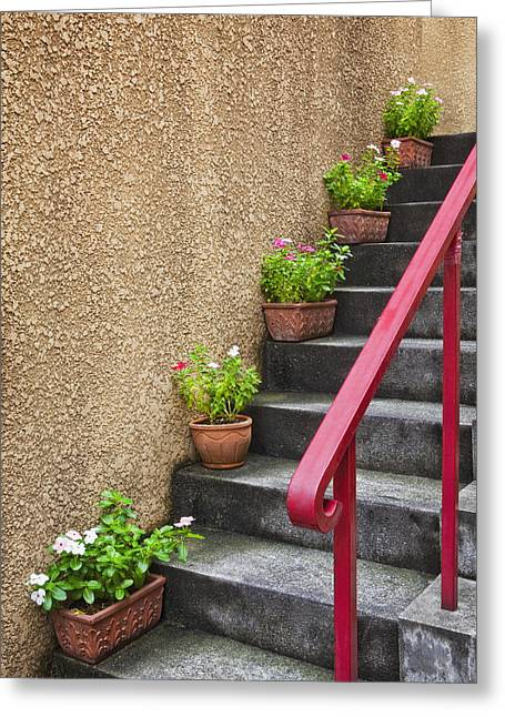 Residential Structure Greeting Cards - Steps In Kagurazaka Tokyo Japan Greeting Card by Bryan Mullennix