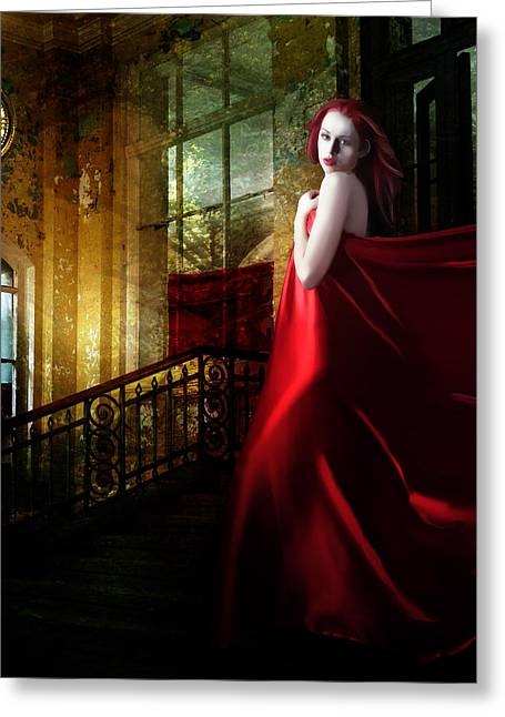 Timeless Greeting Cards - Steps in Red Greeting Card by Karen H