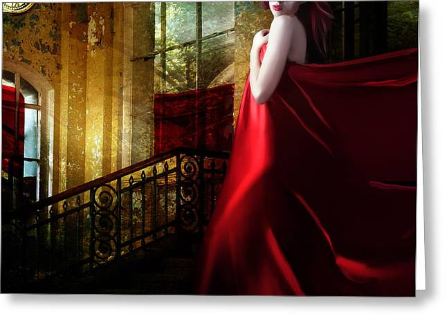 Steps in Red Greeting Card by Karen K