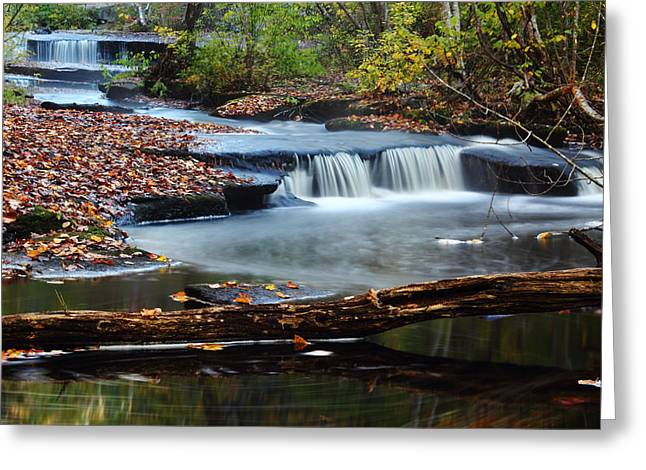 Stepping Stones Greeting Cards - Stepstone Falls Greeting Card by Andrew Pacheco