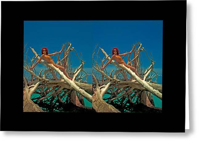 Michelle Greeting Cards - Stereoscopic Driftwood Beach Bikini Audrey Michelle 016 Greeting Card by Rolf Bertram