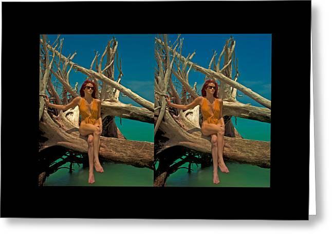 Michelle Greeting Cards - Stereoscopic Driftwood Beach Bikini Girl Audrey Michelle 011 Greeting Card by Rolf Bertram