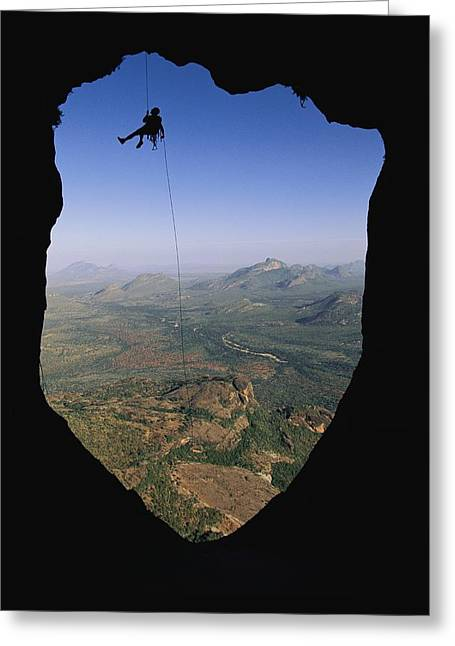 Northern Africa Greeting Cards - Steve Bechtel Rappelling To Bivouac Greeting Card by Bobby Model