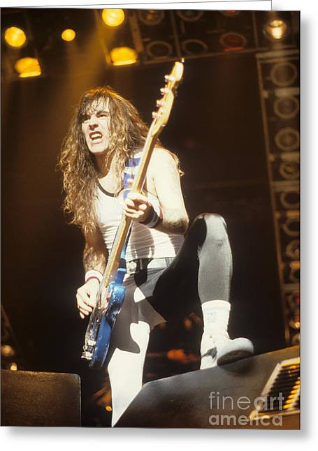 Iron Maiden Greeting Cards - Steve Harris of Iron Maiden Greeting Card by Rich Fuscia