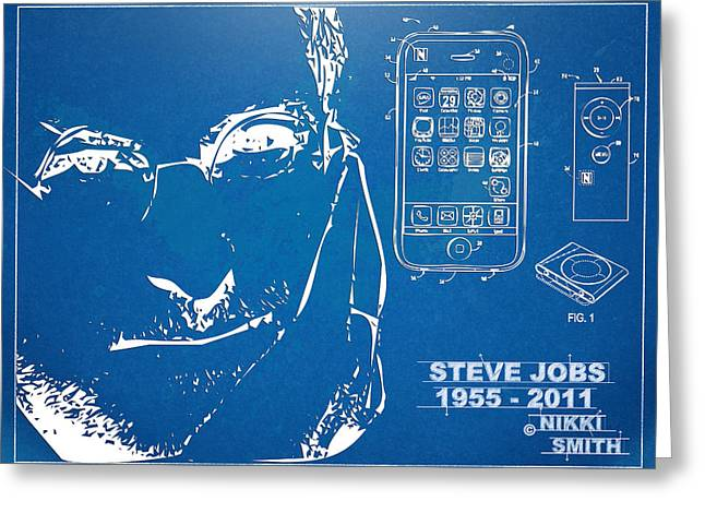 Innovator Greeting Cards - Steve Jobs iPhone Patent Artwork Greeting Card by Nikki Marie Smith