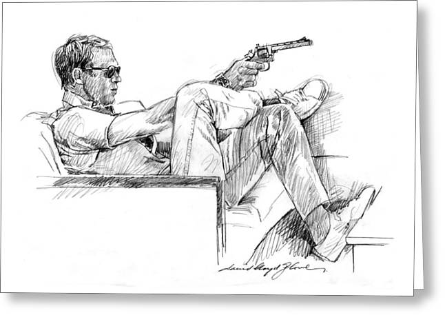 Icon Drawings Greeting Cards - Steve McQueen Colt 45 Greeting Card by David Lloyd Glover
