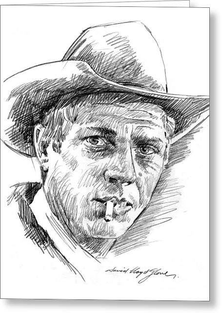 Movie Drawings Greeting Cards - Steve McQueen Greeting Card by David Lloyd Glover