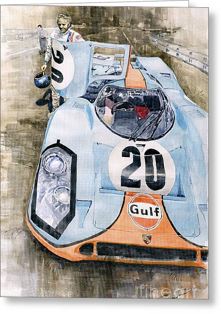 Classic Sports Cars Greeting Cards - Steve McQueens Porsche 917K Le Mans Greeting Card by Yuriy  Shevchuk