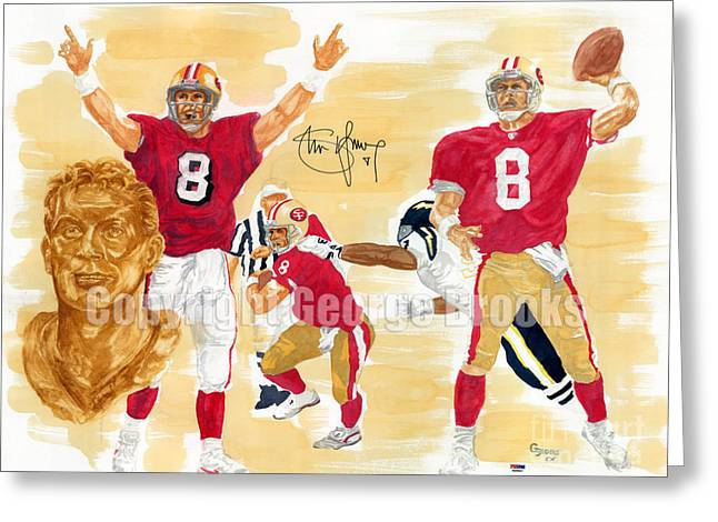 Running Back Paintings Greeting Cards - Steve Young - Hall of Fame Greeting Card by George  Brooks