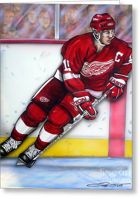 Yzerman Greeting Cards - Steve Yzerman Greeting Card by Dave Olsen