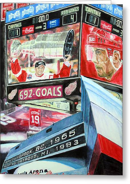 Detroit Legends Greeting Cards - Steve Yzerman- Detroit Red Wings Greeting Card by Chris Ripley