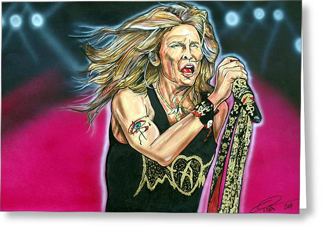 Las Vegas Drawings Greeting Cards - Steven Tyler Greeting Card by Dave Olsen