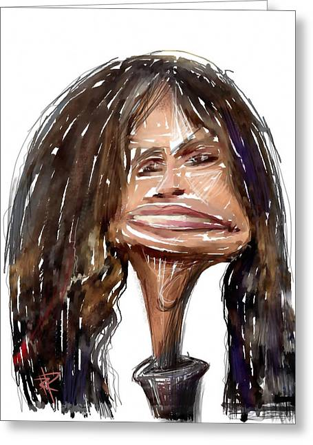Caricature Mixed Media Greeting Cards - Steven Tyler Greeting Card by Russell Pierce