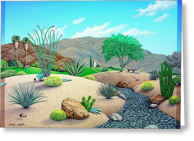 Desert Paintings Greeting Cards - Steves Yard Greeting Card by Snake Jagger