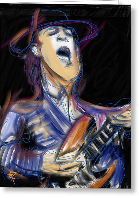 Stevie Ray Greeting Card by Russell Pierce