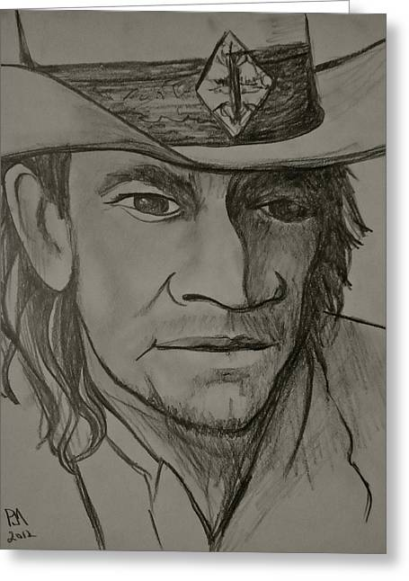 Guitar Player Drawings Greeting Cards - Stevie Ray upclose Greeting Card by Pete Maier