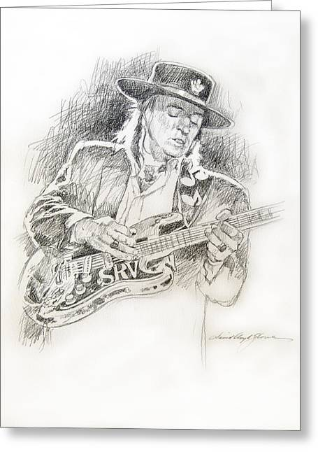 Texas A And M Drawings Greeting Cards - Stevie Ray Vaughan - Texas Twister Greeting Card by David Lloyd Glover