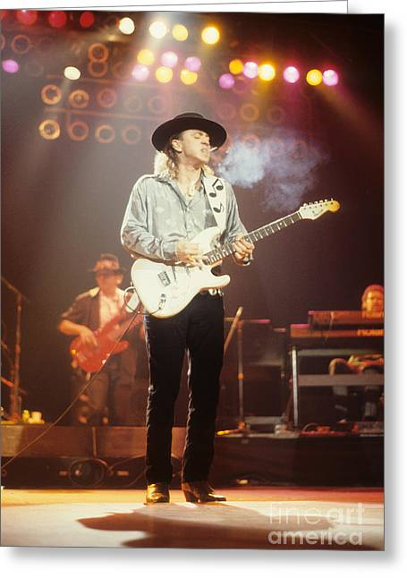 Stratocaster Greeting Cards - Stevie Ray Vaughn Greeting Card by Rich Fuscia