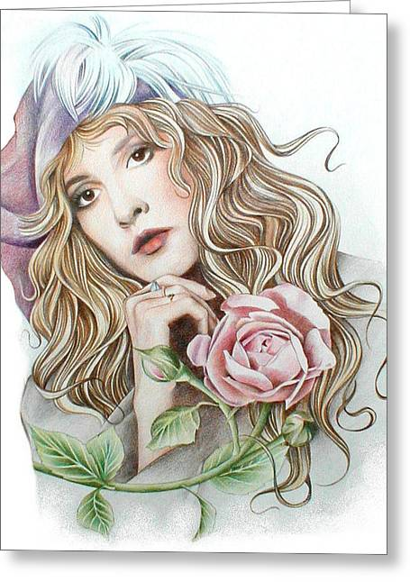 Roses Pastels Greeting Cards - Stevie with Rose Greeting Card by Johanna Pieterman