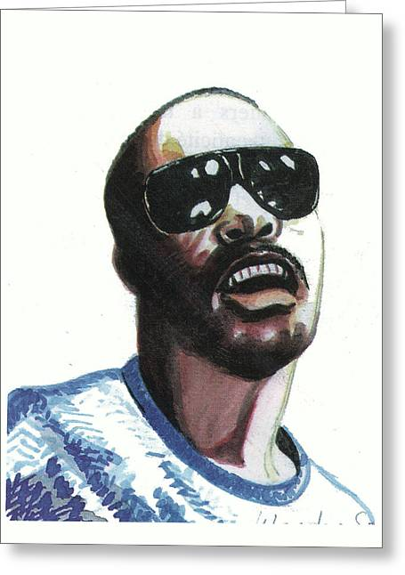 Emmanuel Baliyanga Greeting Cards - Stevie Wonder Greeting Card by Emmanuel Baliyanga