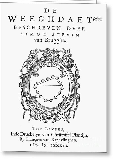 Titlepage Greeting Cards - Stevin: Weeghdaet, 1586 Greeting Card by Granger