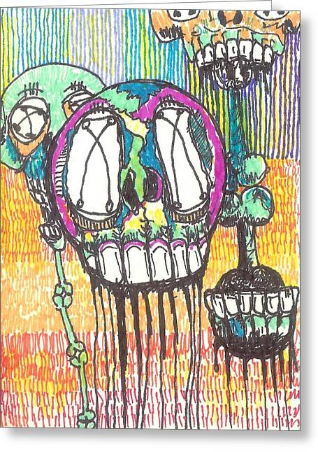 Raw Drawings Greeting Cards - Still Floating Around Greeting Card by Robert Wolverton Jr