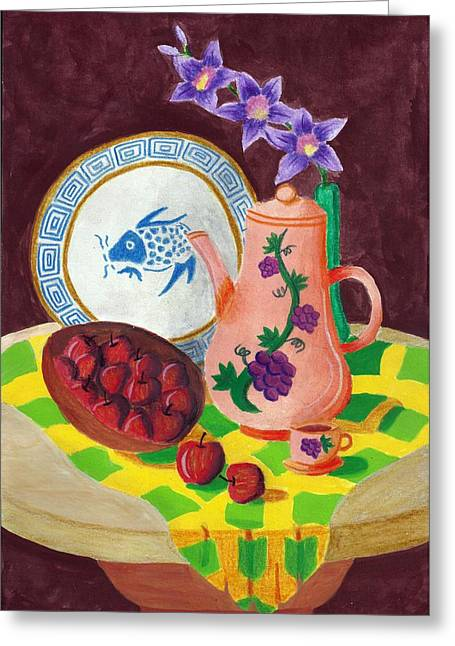 Blue Grapes Drawings Greeting Cards - Still Life 1.0 Greeting Card by Adam Wai Hou