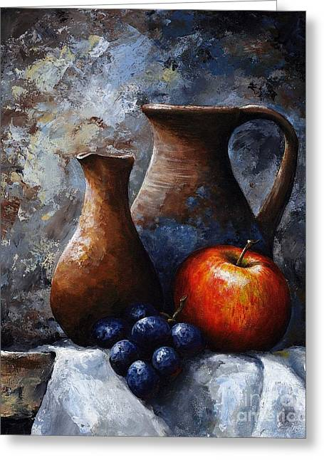 Blue Grapes Greeting Cards - Still life 11 Greeting Card by Emerico Imre Toth