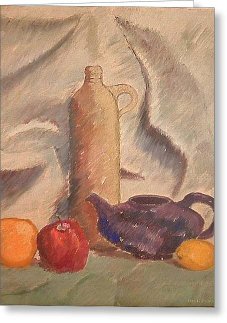 Oil On Canvas Board Greeting Cards - Still Life 1961 Greeting Card by Fred Jinkins
