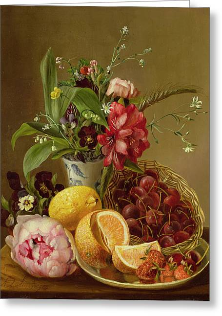 Table Greeting Cards - Still Life Greeting Card by Albertus Steenberghen