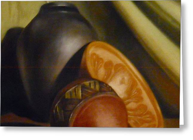 Still Life Bowl with Vases Greeting Card by Darlene Keeffe