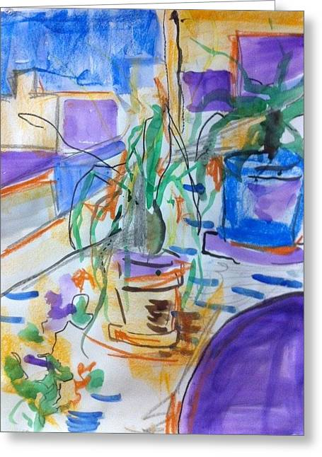 Potted Plants Drawings Greeting Cards - Still Life Greeting Card by Casey Heyen