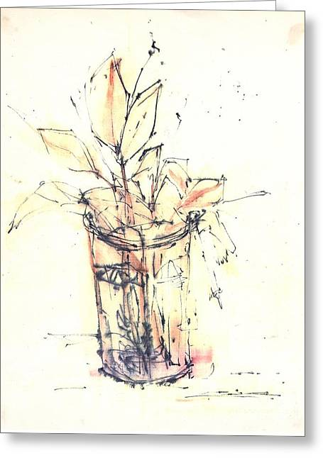 Glass Vase Drawings Greeting Cards - Still Life Greeting Card by Chiong Lin