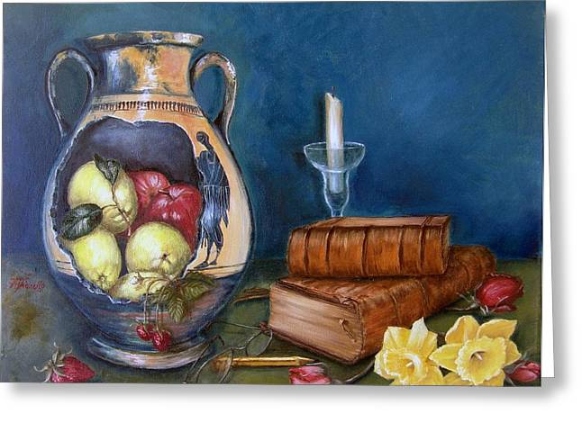 Limoni Greeting Cards - Still life etruscan vase Greeting Card by Irene Anna Vianello