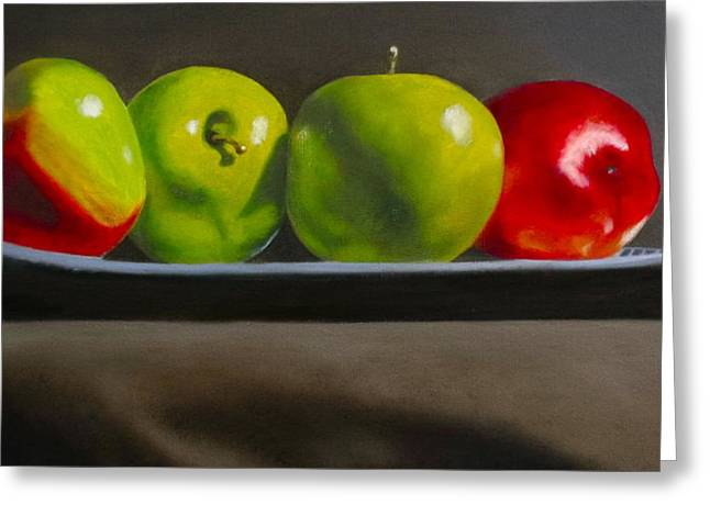Apple Art Greeting Cards - Still Life Four Apples Greeting Card by Darlene Keeffe