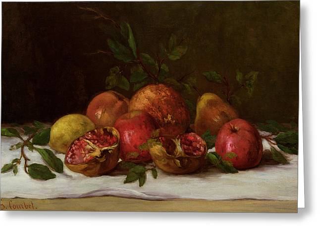 Growth Paintings Greeting Cards - Still Life Greeting Card by Gustave Courbet