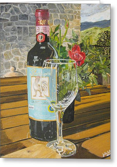 John Schuller Art Greeting Cards - Still Life in Chianti Greeting Card by John Schuller