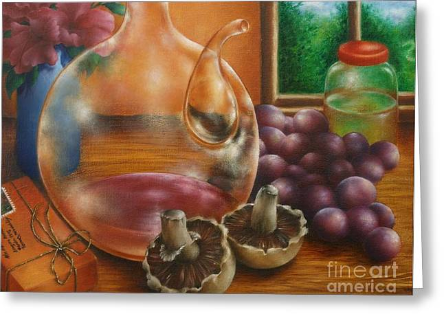 Purple Mushrooms Greeting Cards - Still Life in Oil Greeting Card by Evelyn Sichrovsky