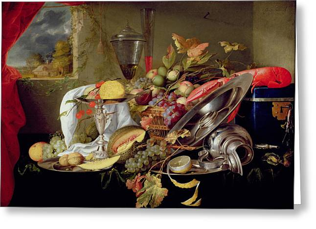 Flagon Greeting Cards - Still Life Greeting Card by Jan Davidsz Heem